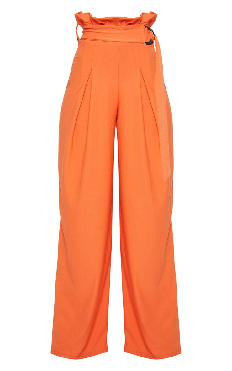 Orange Crepe Paperbag Waist Detail Wide Leg Trouser 3