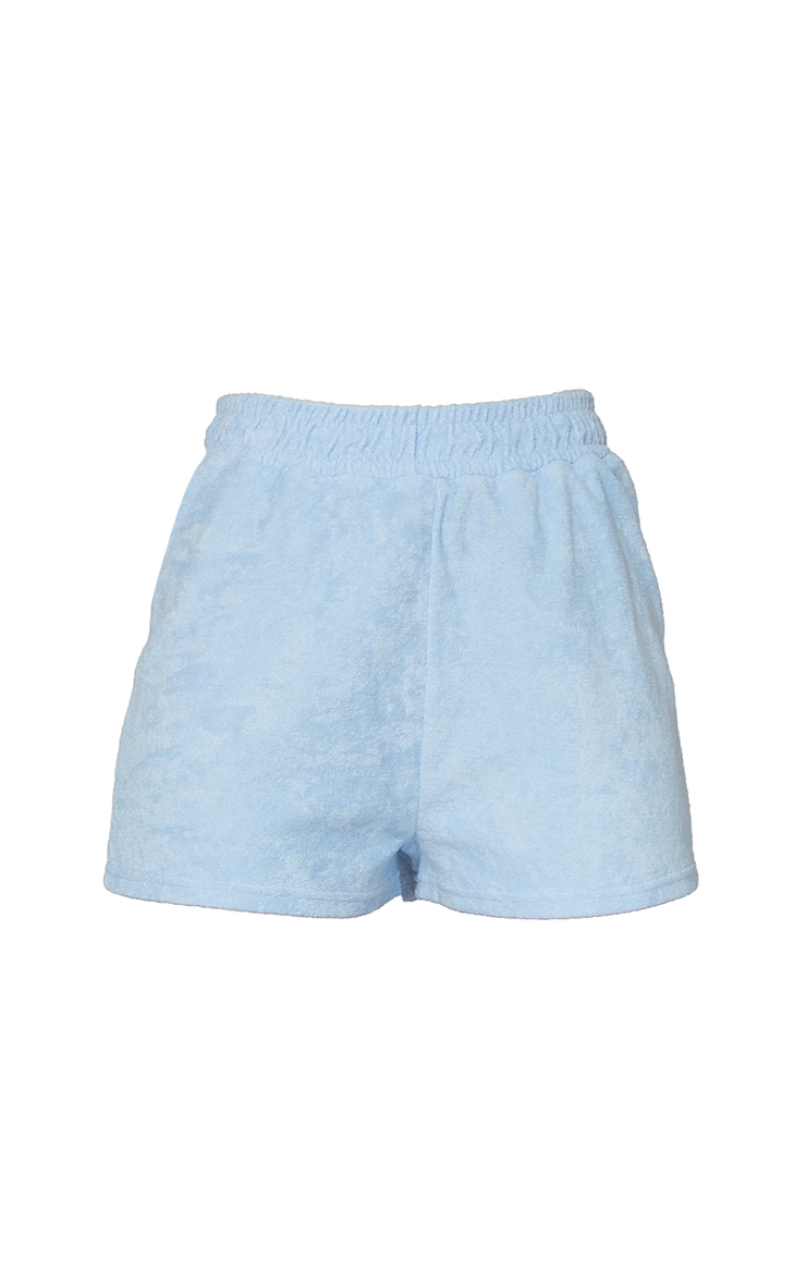 Baby Blue Toweling Runner Shorts 6