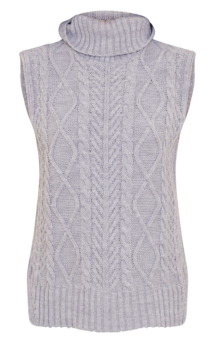 Petite Grey Longline Sleeveless Cable Roll Neck Sweater 5