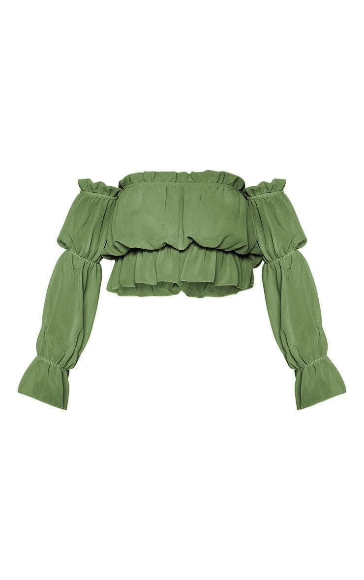 Khaki Woven Ruffle Bardot Flared Sleeve Blouse 5