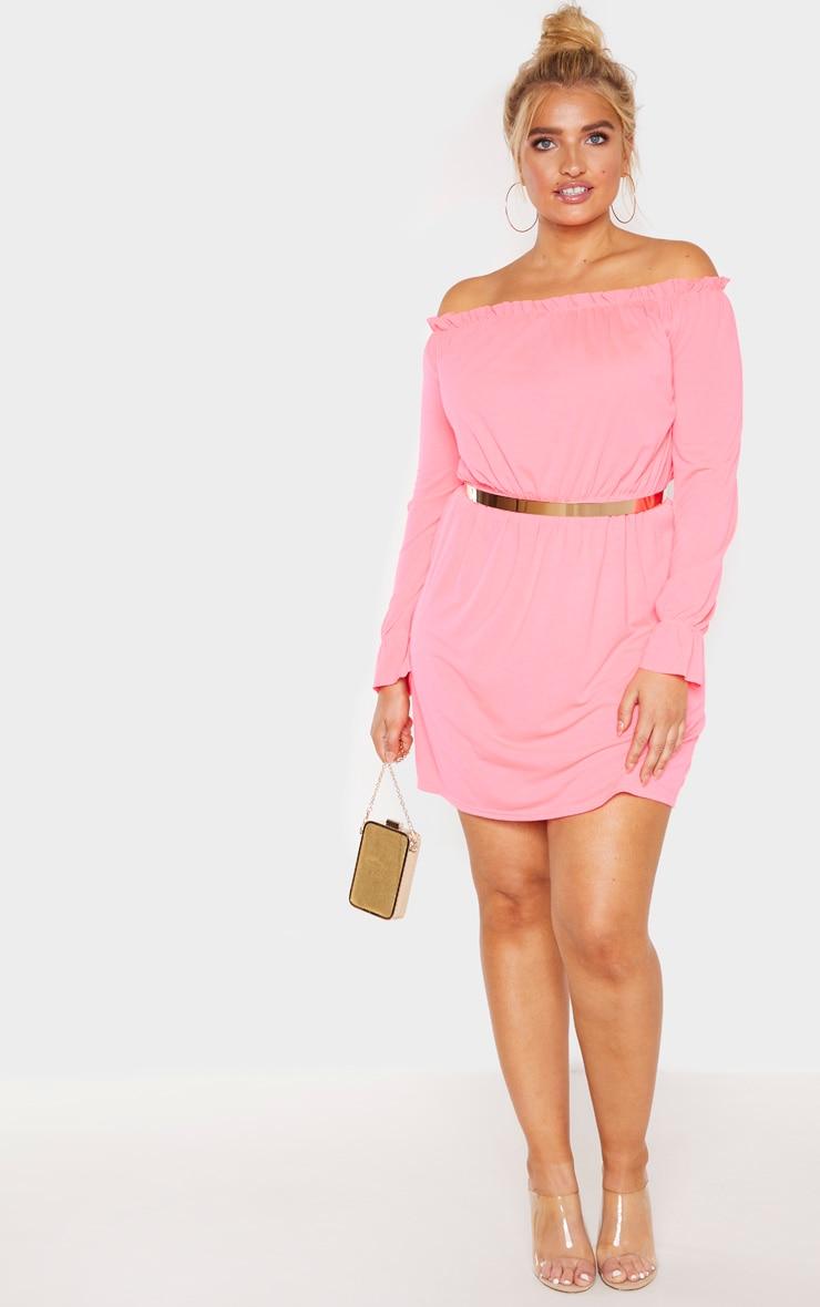 Plus Neon Pink Bardot Frill Detail Shift Dress 4