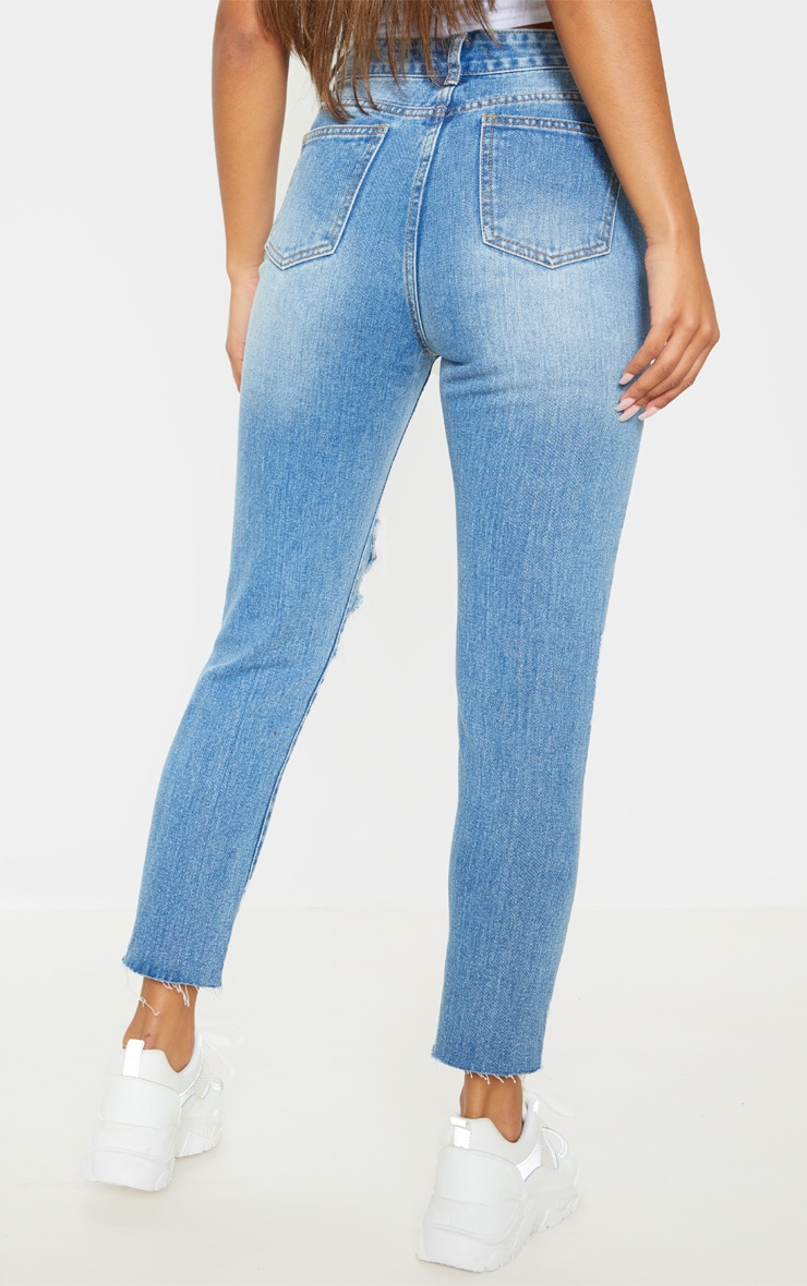 Mid Wash Extreme Distressed Mom Jean  4
