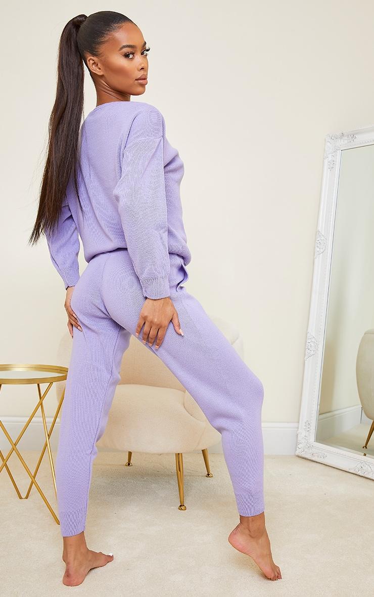 Lilac Slash Neck Knitted Set 2