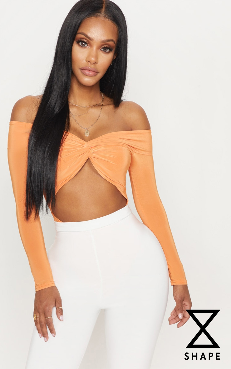 Shape Tangerine Slinky Twist Front Bardot Bodysuit 1