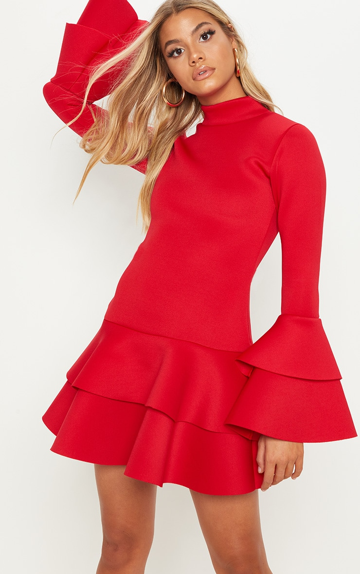 Red Bonded Scuba Ruffle Sleeve Bodycon Dress 1