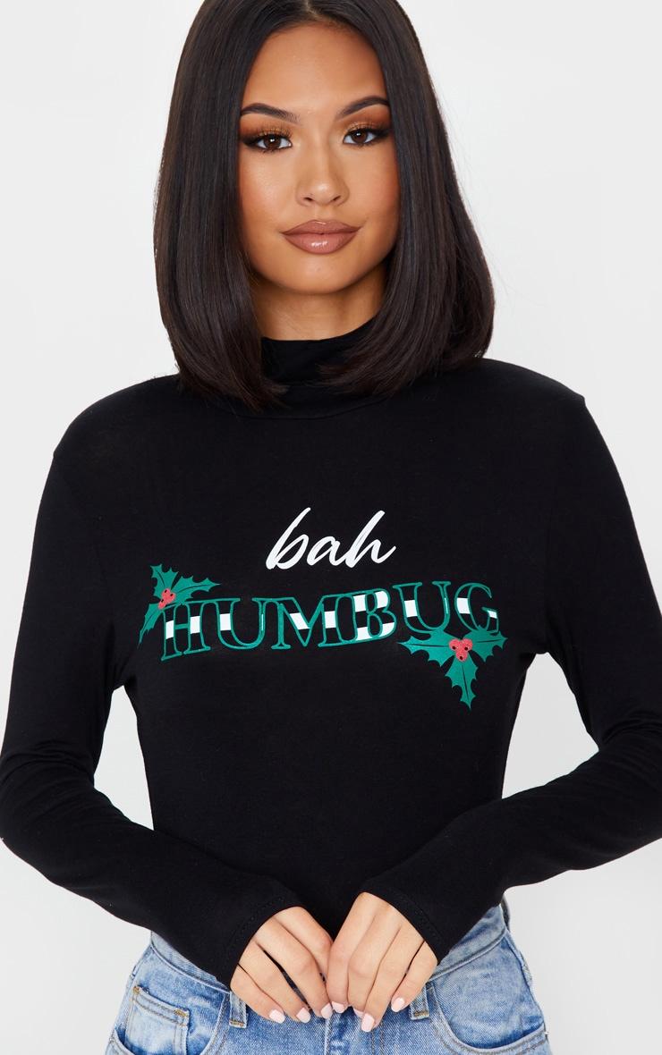 Black Bah Humbug High Neck Bodysuit 6