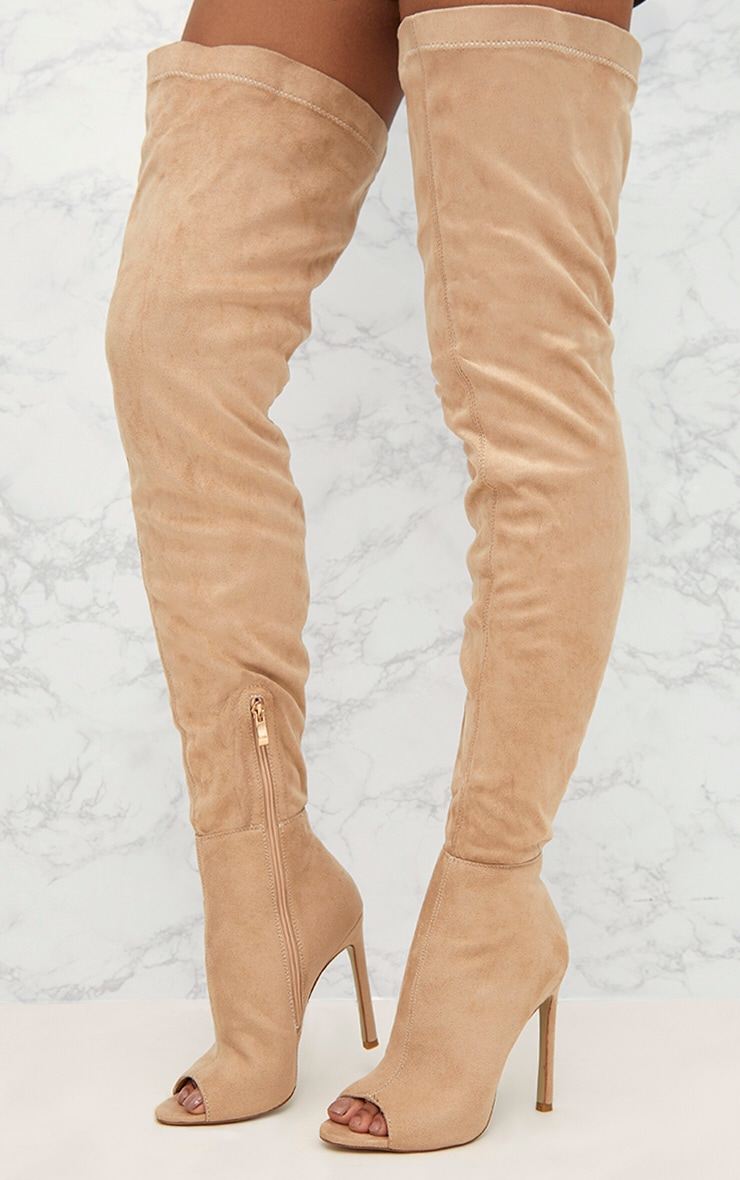 Nude Faux Suede Thigh High Peep Toe Heeled Boots 5