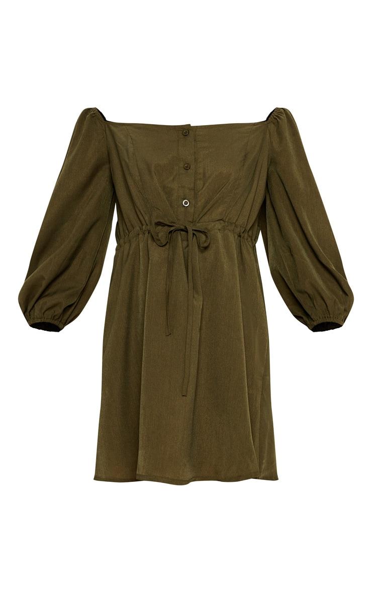 Khaki Bardot Button Drawstring Waist Smock Dress 3