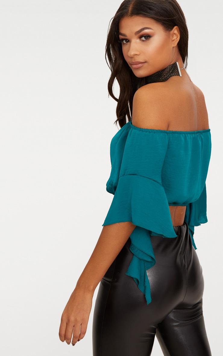 Emerald Green Satin Bardot Frill Sleeve Crop Top 2