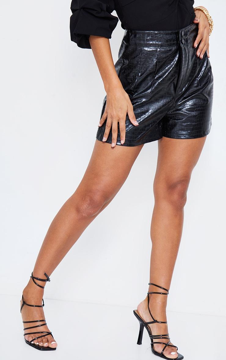 Black Croc Faux Leather Pleat Detail Shorts 3