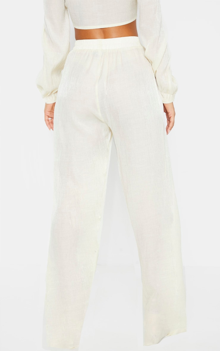 Cream Textured Wide Leg Pants 4