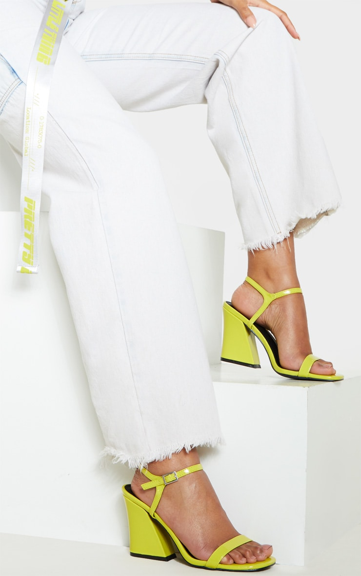 Neon Yellow Block Heel Sandal 1