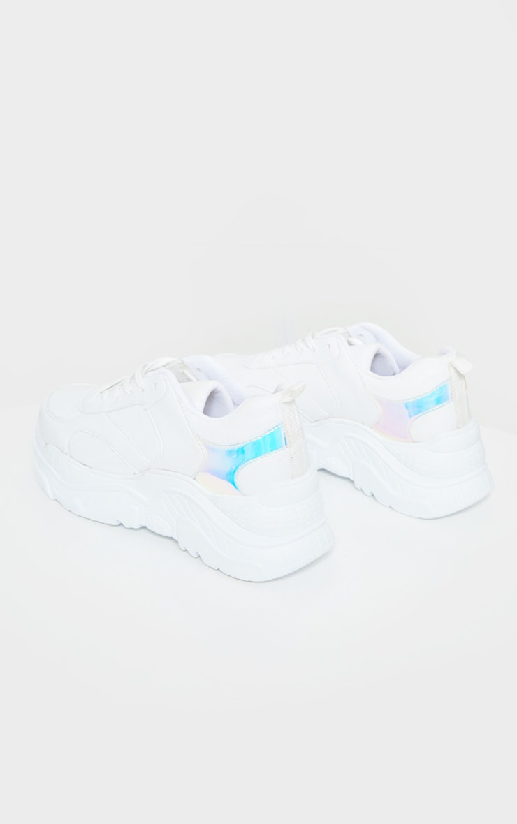 White Chunky Holographic Trim Sneakers 3