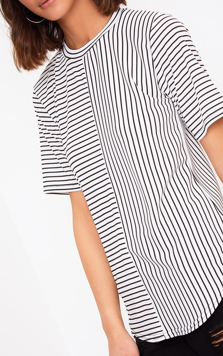 White Contrast Stripe Ribbed T Shirt 5