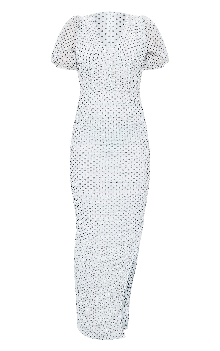 White Polka Dot Puff Sleeve Ruched Mesh Maxi Dress 5