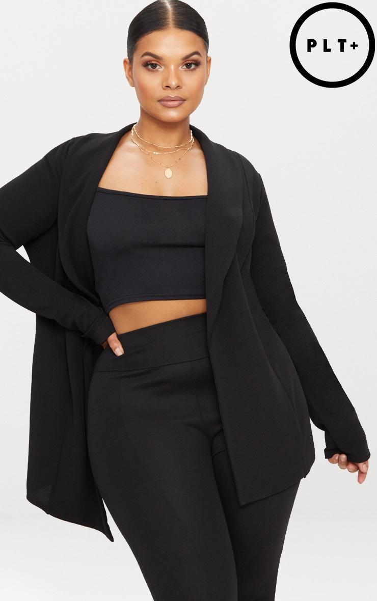 Plus Black Wrap Detail Blazer 1