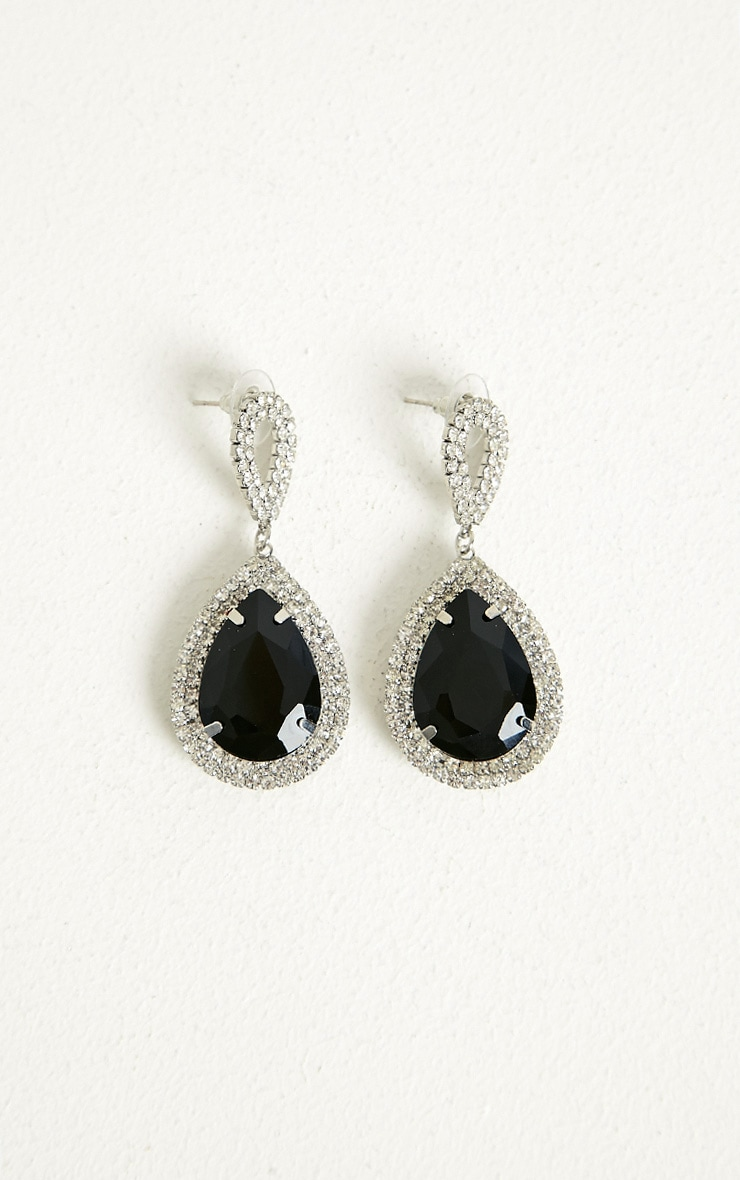 Julietta Black Diamante Drop Earings 1