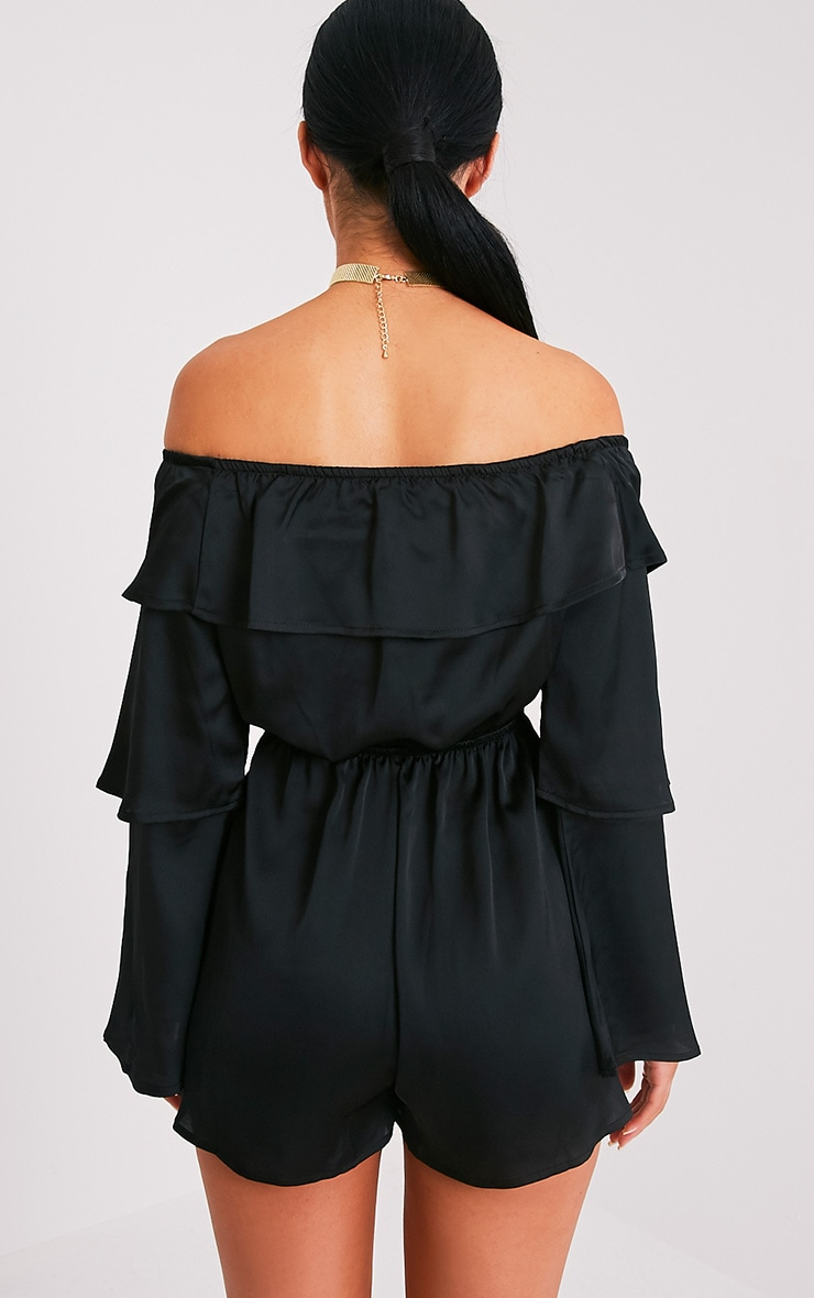 Tiffany Black Frill Satin Playsuit 2
