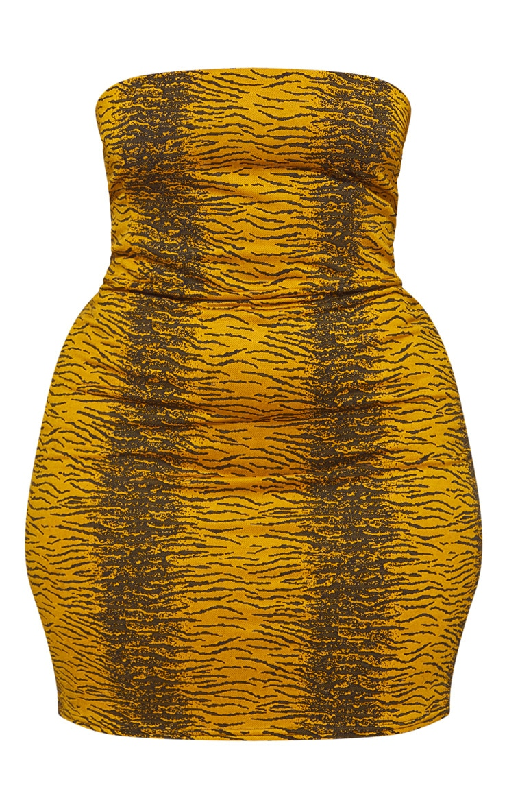 Plus Tiger Bandeau Bodycon Dress 3