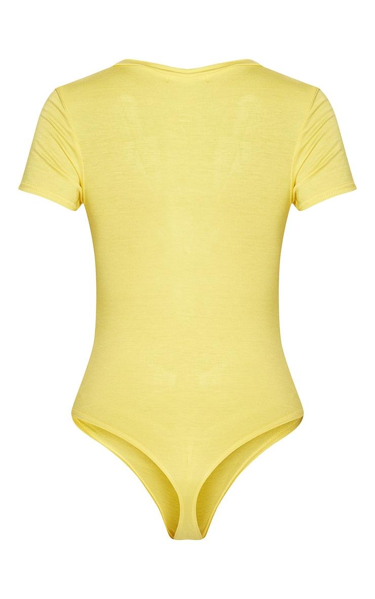 Lemon Jersey Plunge Short Sleeve Thong Bodysuit  4