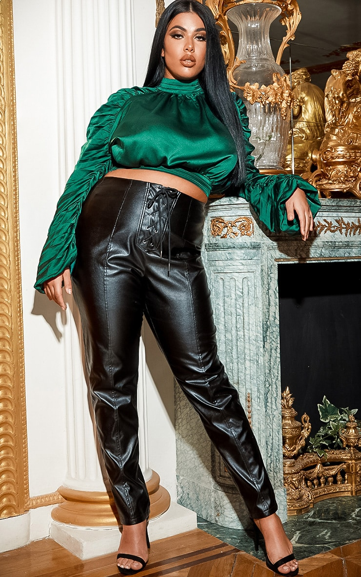 Plus Emerald Green  Satin Ruched Sleeve Crop Top 4