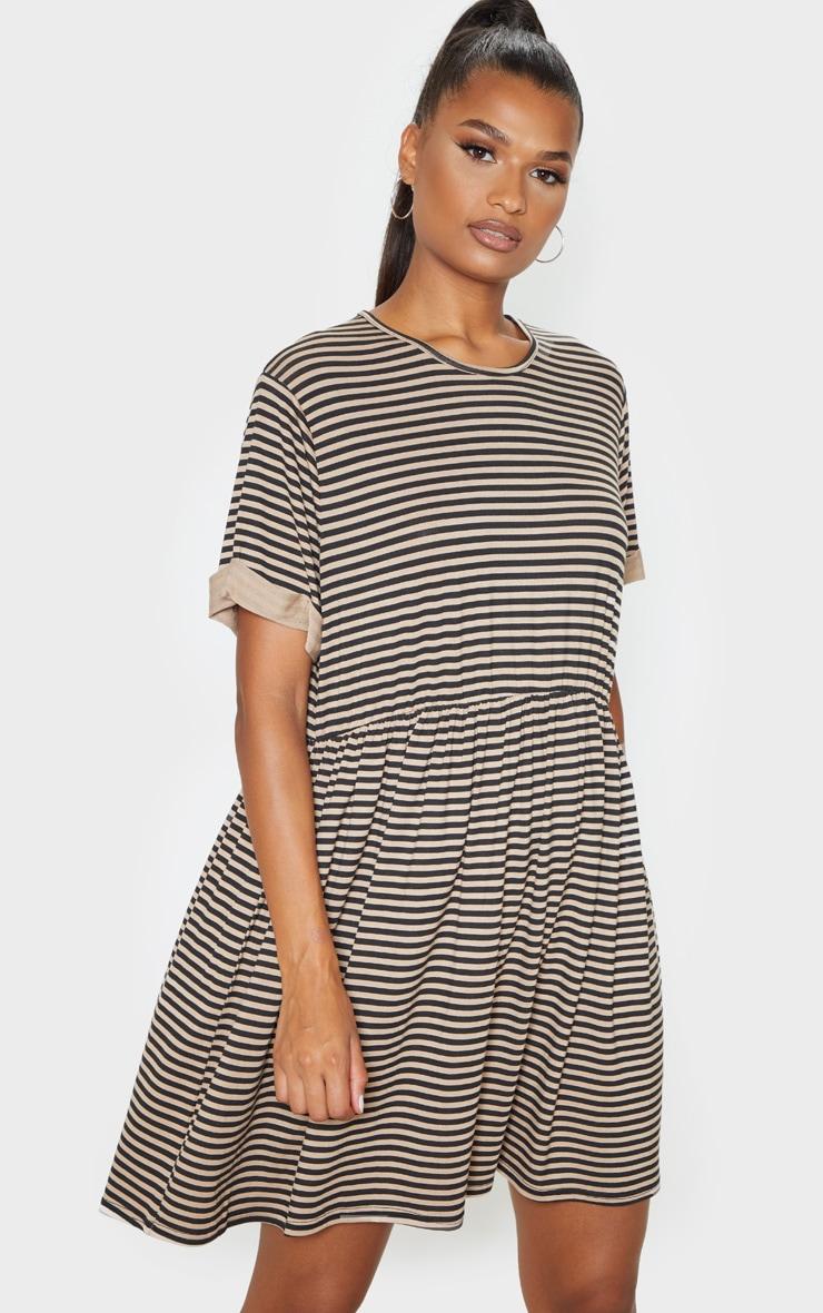 Black Contrast Stripe Roll Sleeve Smock Dress