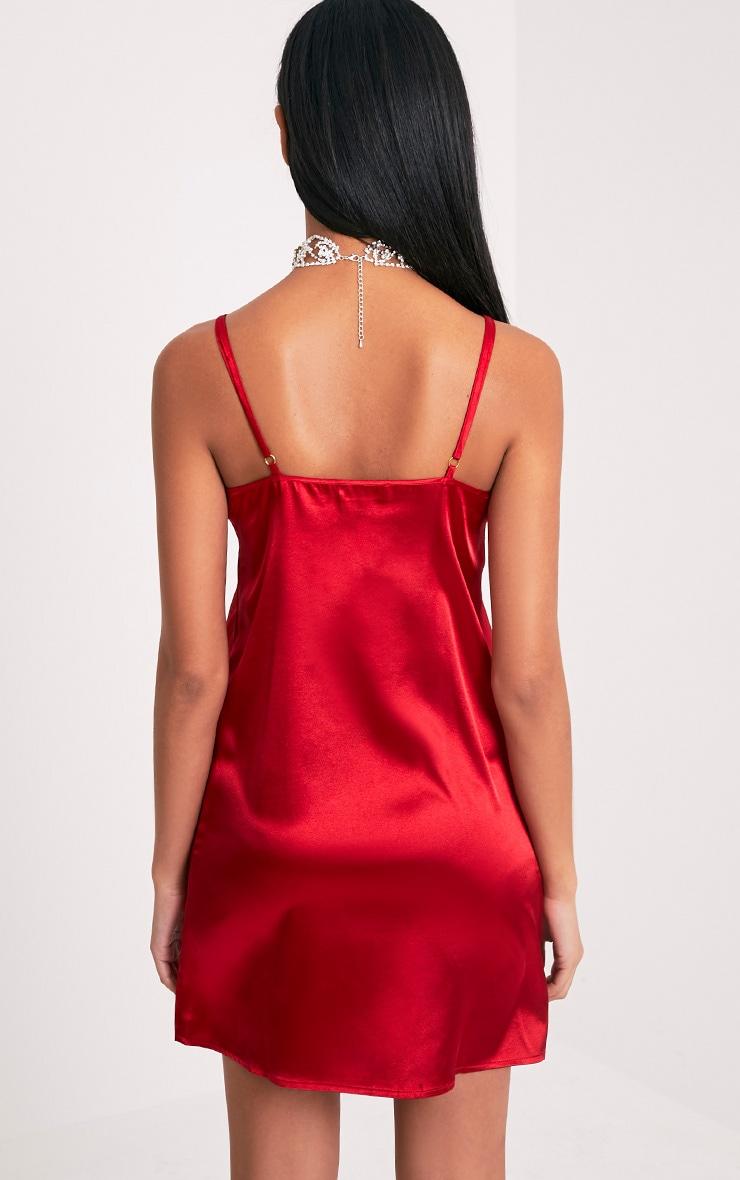 Jane Red Satin Applique Slip Dress 2