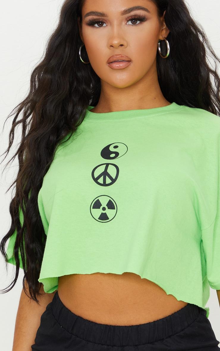 Lime Green Symbol Printed Crop T Shirt 4