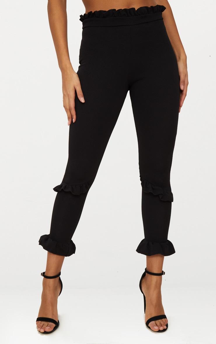 Black Double Ruffle Detail High Waisted Trouser 2