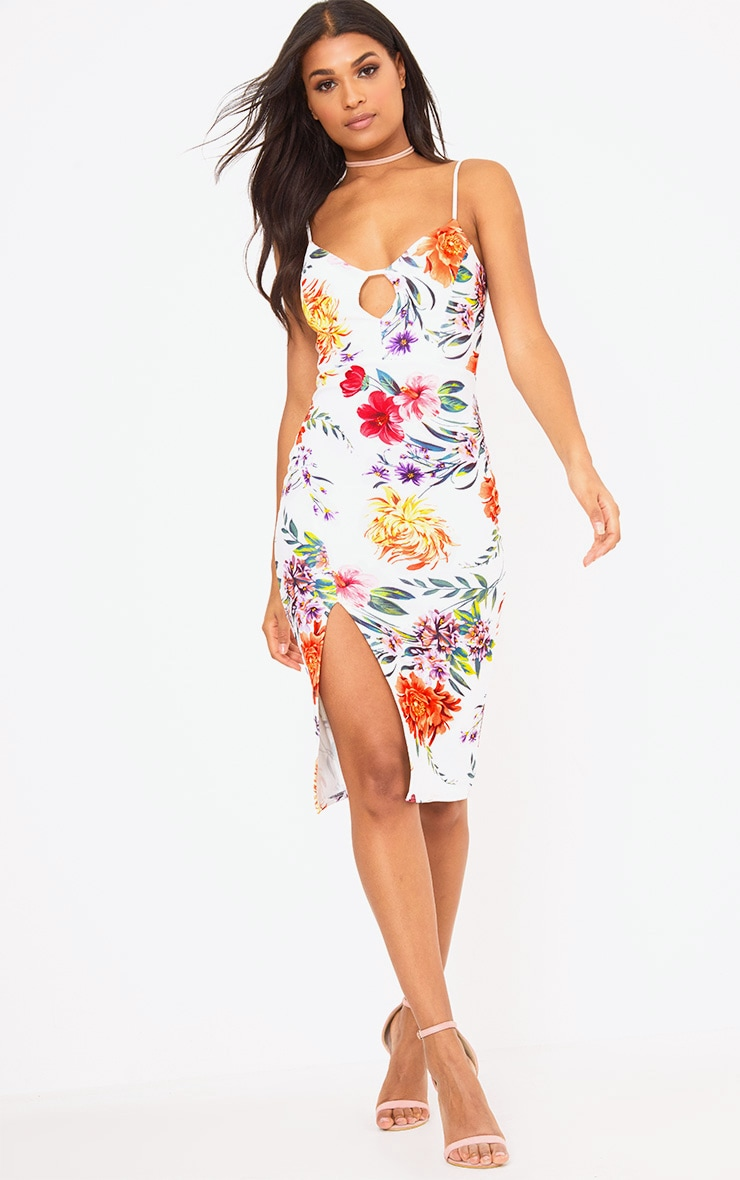 White Strappy Floral Midi Dress 4