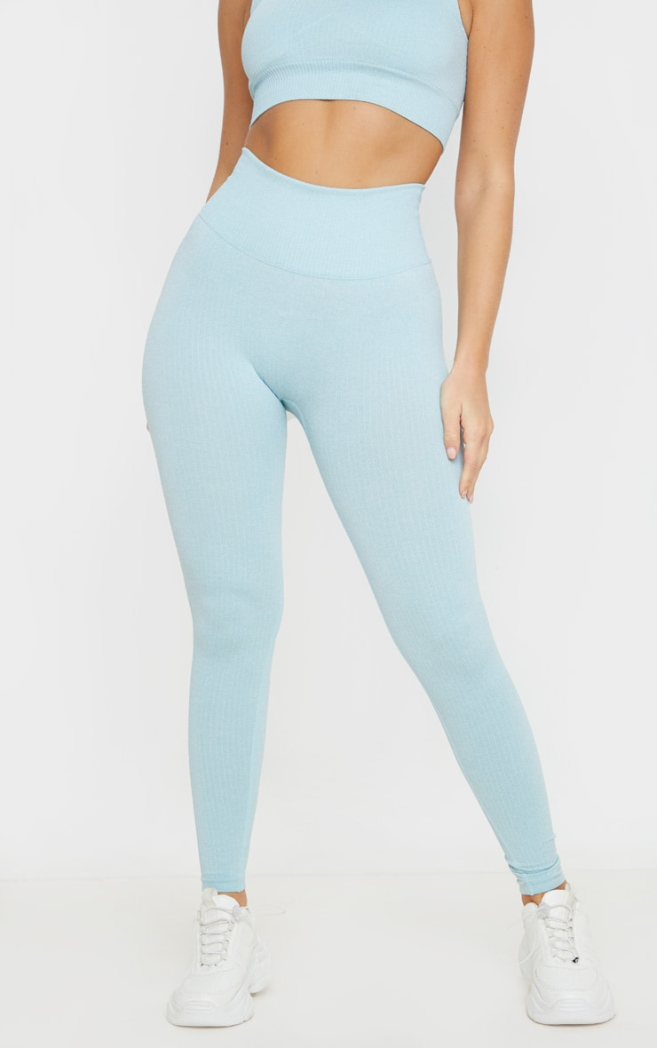 Blue Ribbed Sports Legging 2