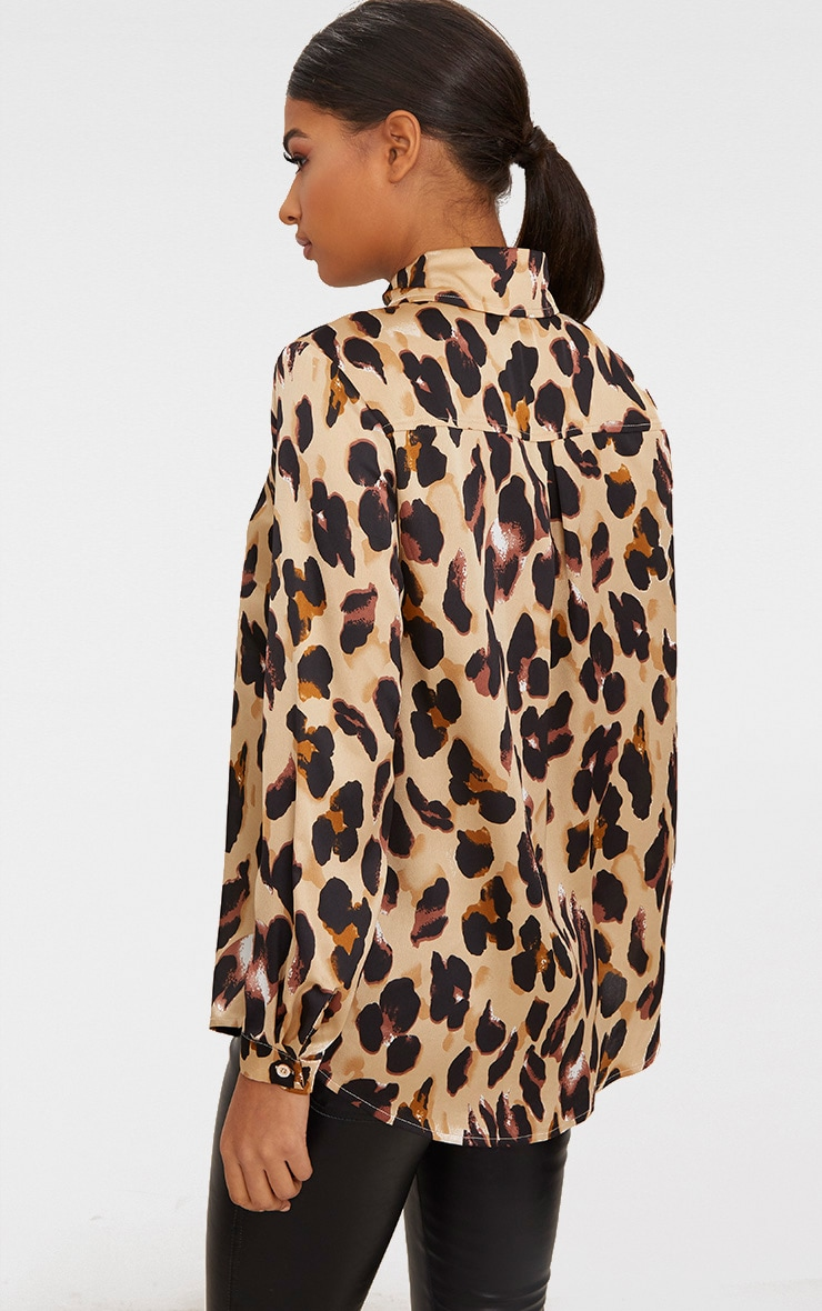 Tan Leopard Print Satin Oversized Shirt 2