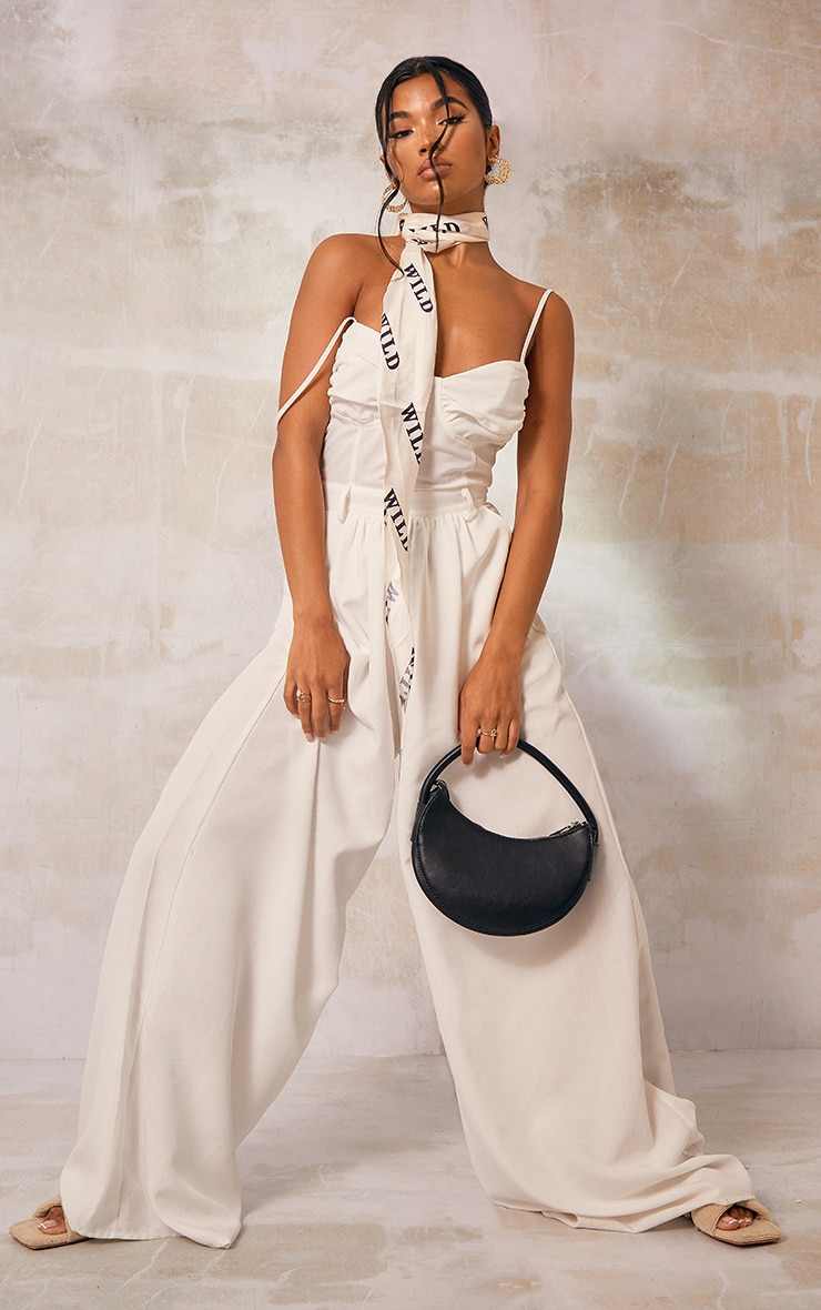 White Ruched Cup Strappy Wide Leg Jumpsuit
