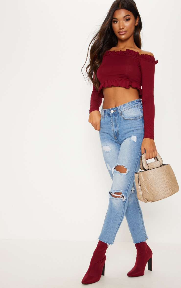 Deep Burgundy Bardot Frill Jersey Crop Top 4