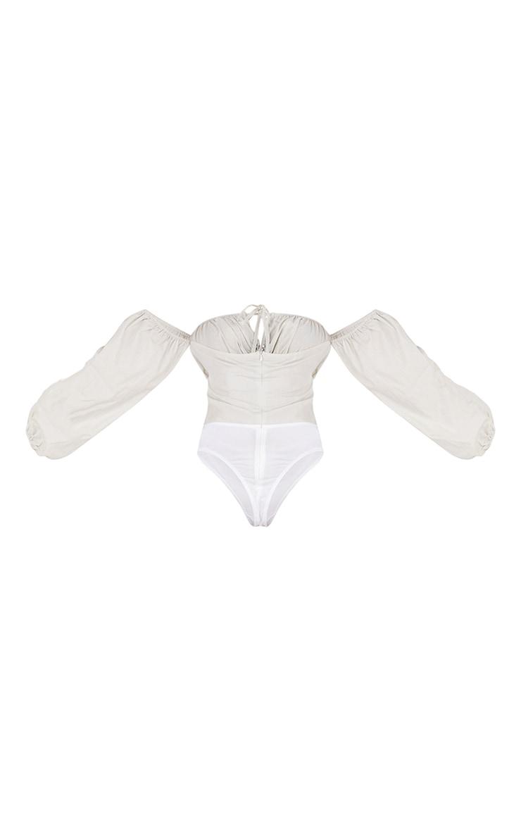 Stone Hook & Eye Bardot Long Sleeve Bodysuit 6