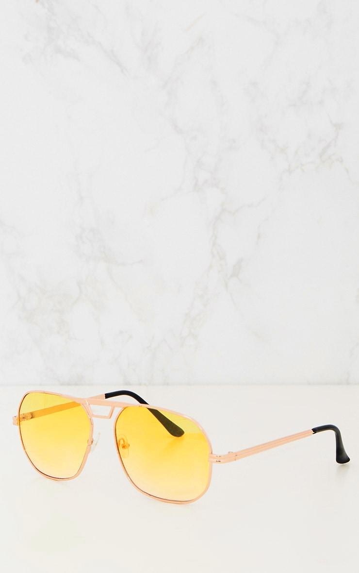 Yellow Metal Frame Retro Aviator Sunglasses 3