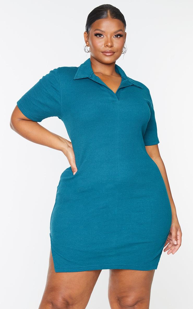 Plus Teal Thick Rib Polo Bodycon Dress 3