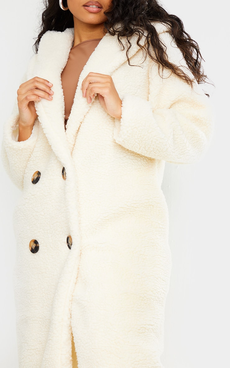 Petite Cream Borg Hooded Midi Coat 4