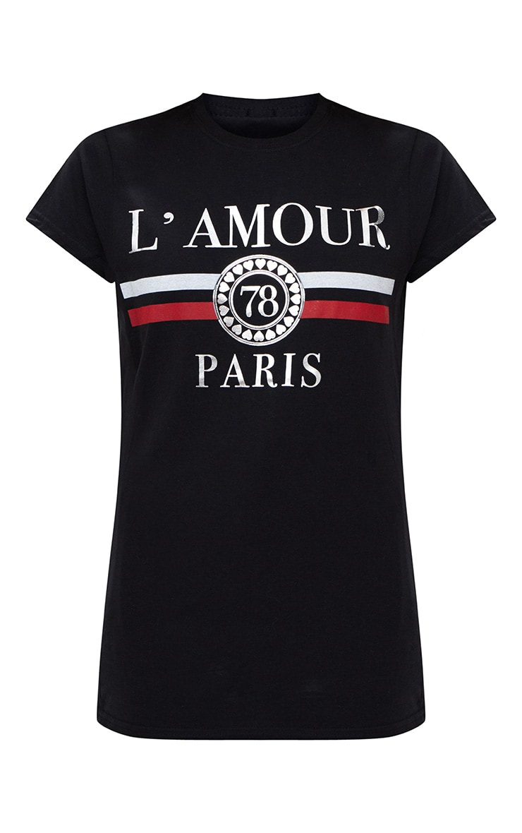 Black L'amour Slogan Foil Print Slogan Fitted T Shirt 3