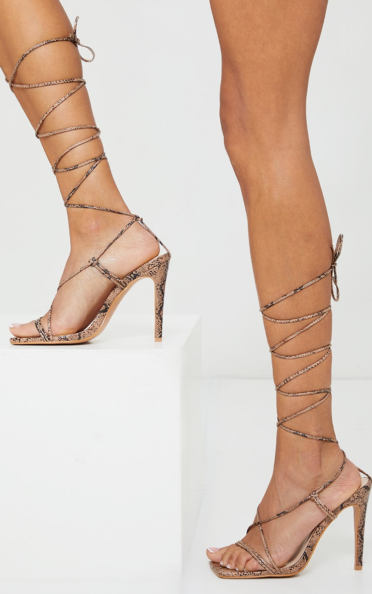 Nude Pu Barely There Lace Up High Heels 2