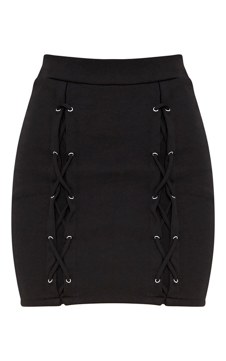 Jorja minijupe noire à détail treillis 3