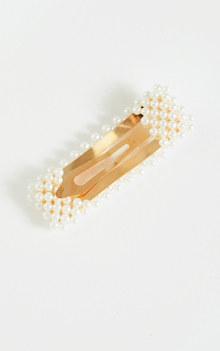 White Pearl Rectangle Hair Slide 3
