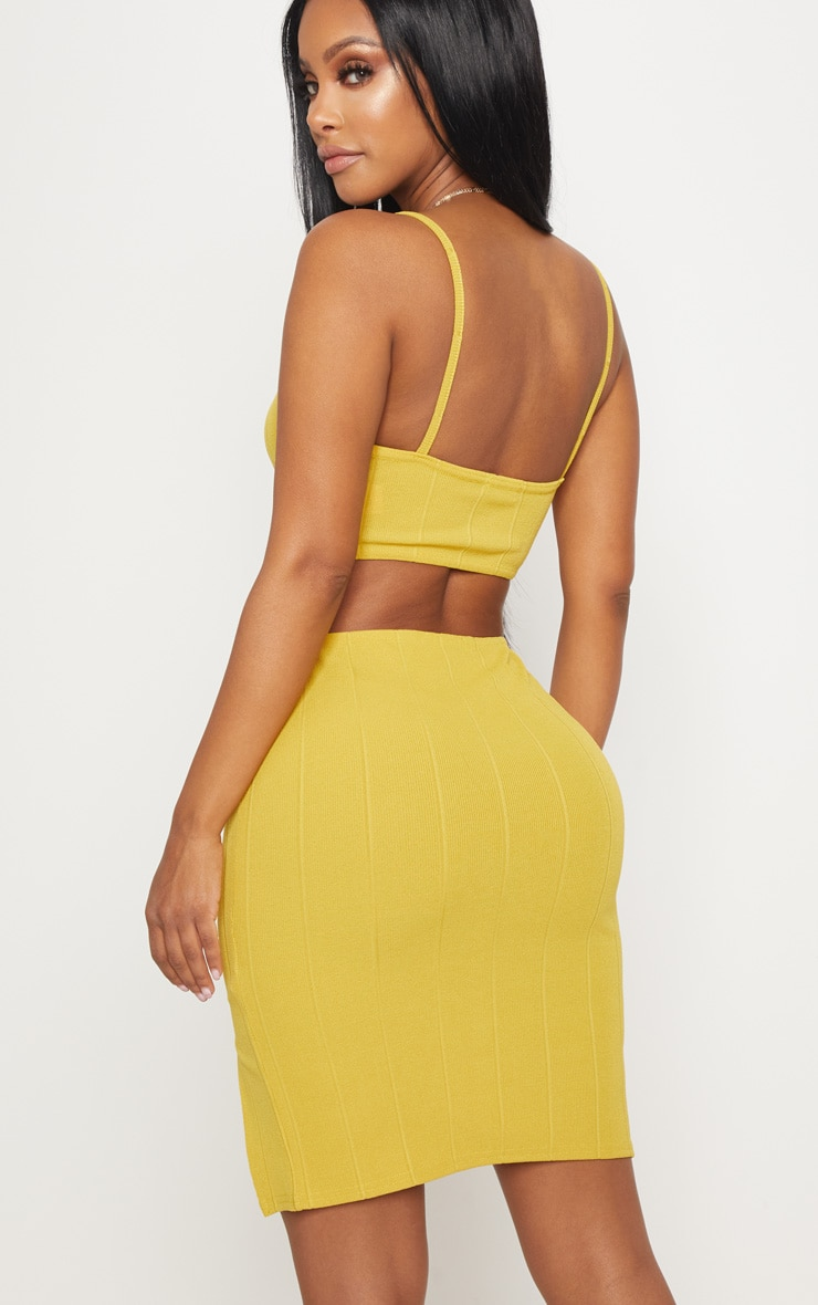 Shape Chartreuse Bandage Crop Top 2