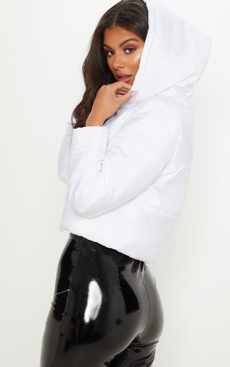 White Hooded Cropped Puffer 2
