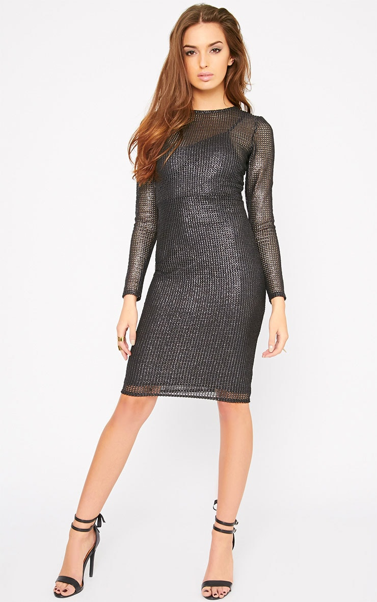 Delphia Black Net Midi Dress 4