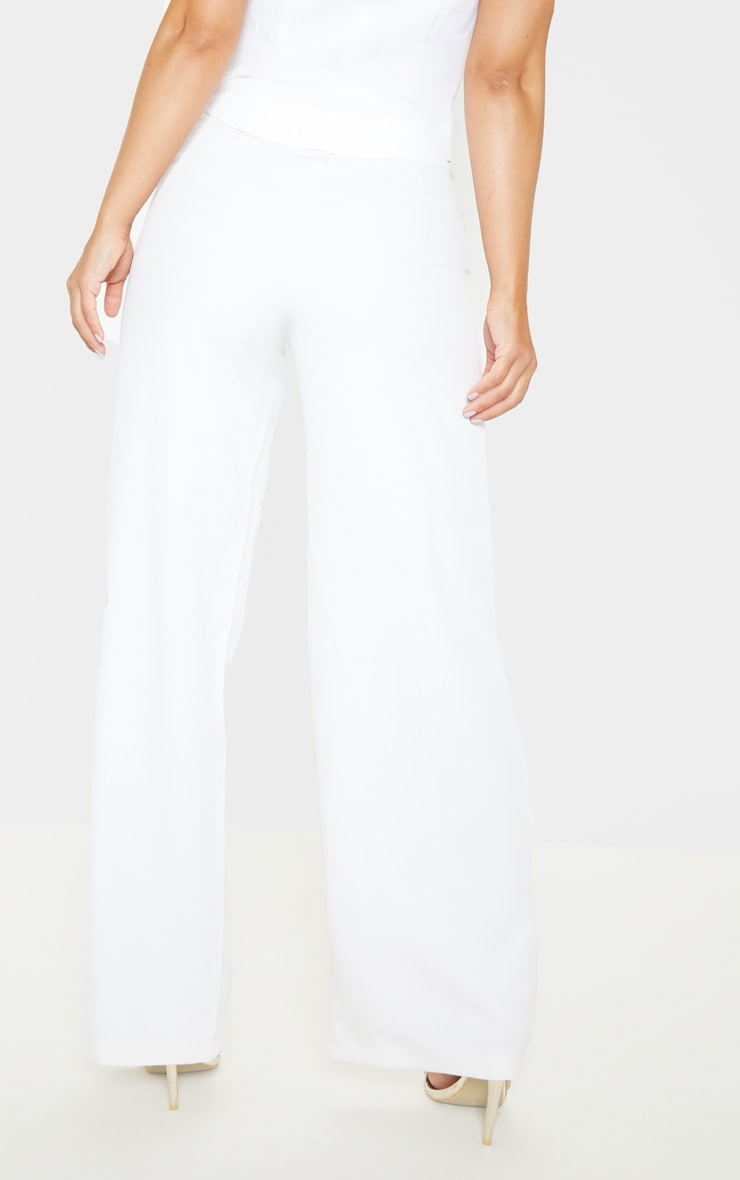 Petite White Tuxedo Trousers 4