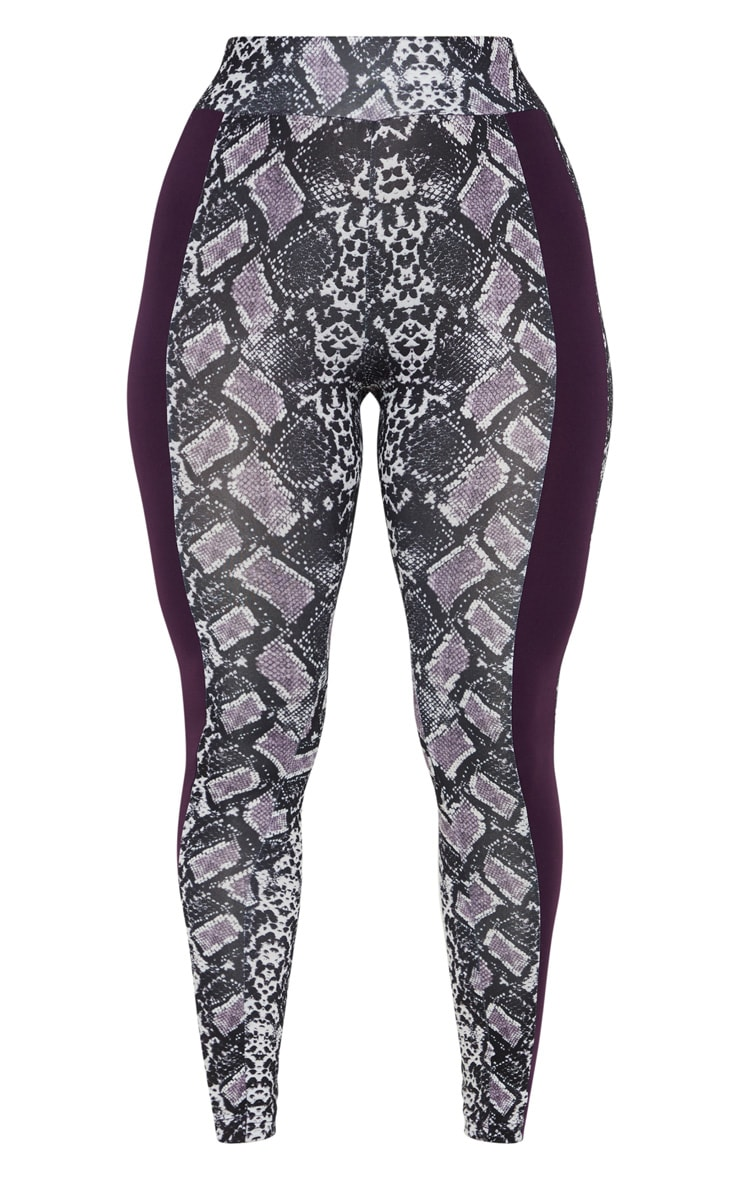 PLT Aubergine Snake Print Contrast Gym Legging 3