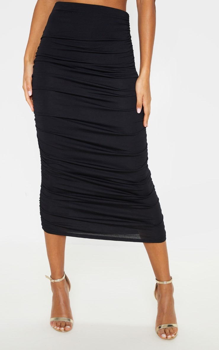 Black Second Skin Ruched Midaxi Skirt 2