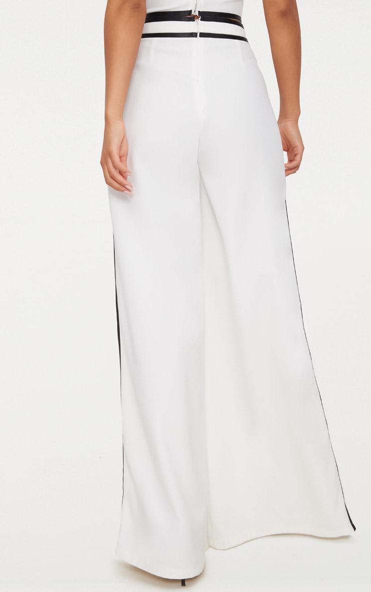 White Contrast Binding Split Front Wide Leg Trouser 4