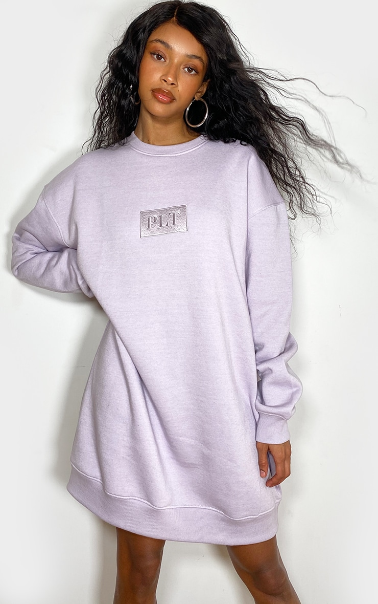 PRETTYLITTLETHING Lilac Tonal Embroidered Sweat Jumper Dress 1